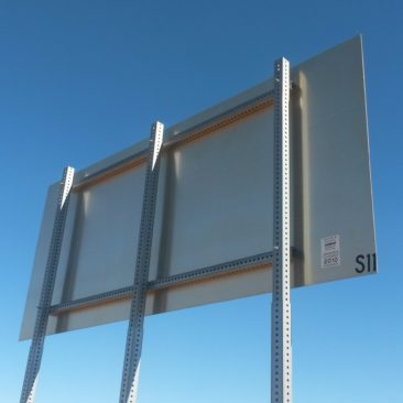 Telespar supports for large signs