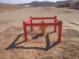 Specialty construction for hydrant bollards.