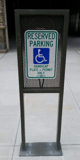 Handicap sign and custom built post