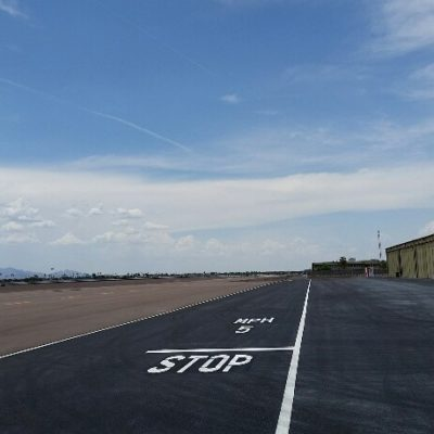 Airport auxiliary roadway striping