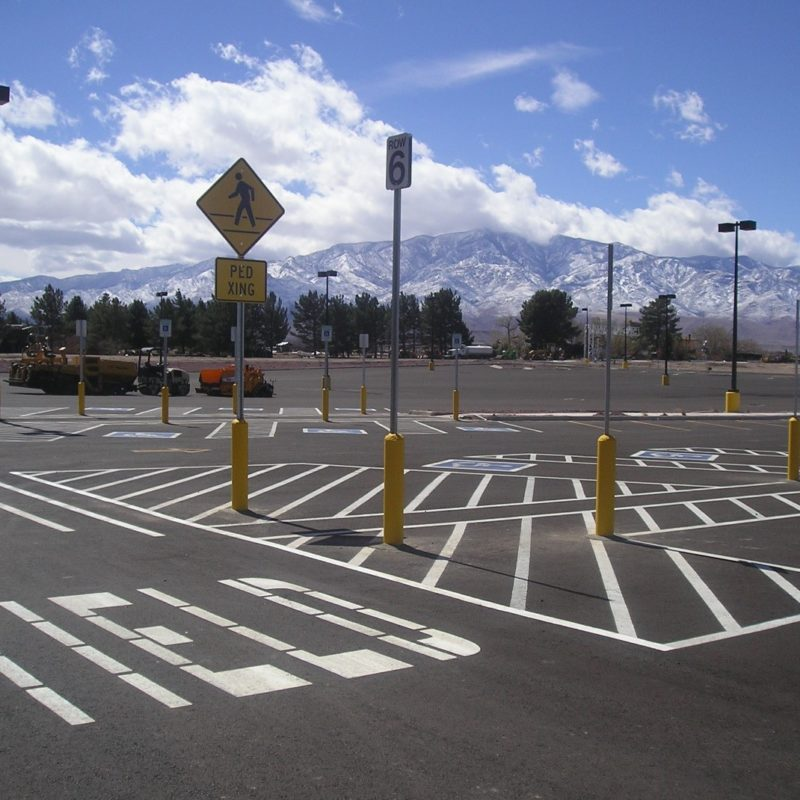 WalMart Parking lot with control signage and striping