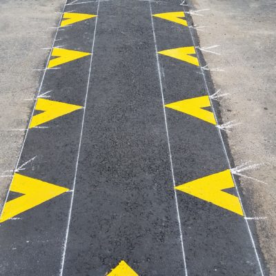 "Unusual request for speed hump marking - specialty striping is our ""specialty"""